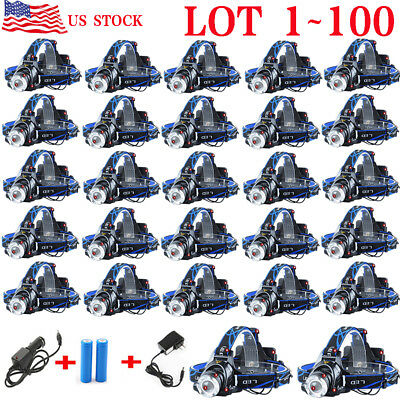 LOT 5000LM ZOOM XM-L T6 LED Headlamp Zoomable HeadLight+18650 Battery+Charger OY