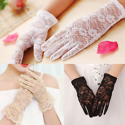 Stretch Short Lace Wrist Gloves Rose Floral Design Wedding Goth Prom Party