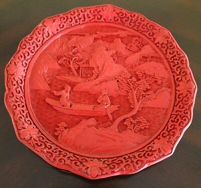 Vintage Red Cinnabar Chinese Carved Plate
