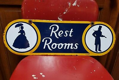 Original Sunoco Rest Rooms Sign. Double sided. Porcelain. 20.75inx6.5in