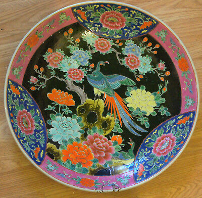 made in Japanese hand painted red and blue green very large Plate