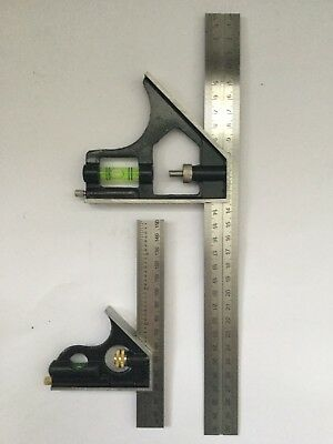 "2 X COMBINATION SQUARE 300mm/12"" + 150mm/6"" STAINLESS RULER 45' 90' level scribe"
