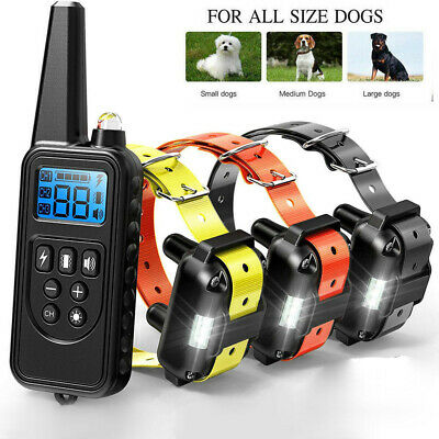 800m Waterproof LCD Dog Training Collar Rechargeable Remote Shock for 1/2 Dog