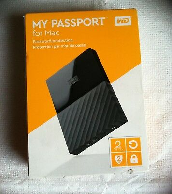 Wd My Passport 2Tb For Mac External Portable Hard Drive Password Protected Black