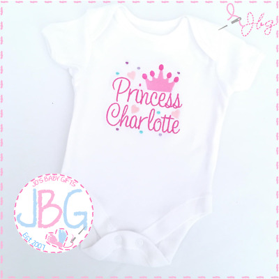 Personalised EMBROIDERED Crown Vest Bodysuit 'Princess' New baby girl, clothes