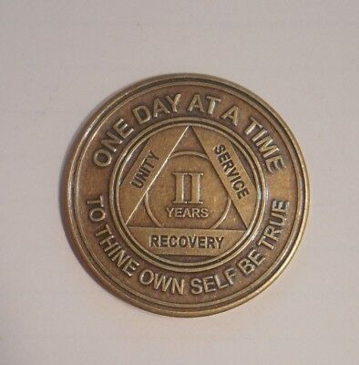 New aa bronze alcoholics anonymous 2 year sobriety chip coin token medallion