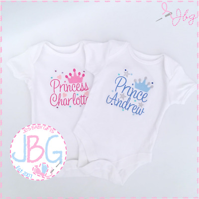 Personalised 'Prince/Princess' Baby clothing, Vest Bodysuit