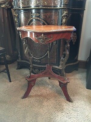 STUNNING ANTIQUE FRENCH 19thC INLAID PARLOR ACCENT TABLE BRONZE SWAN ACCENTS