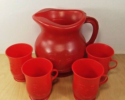 Vintage Red Kool-Aid Man Pitcher and 4 Piece Cup Set