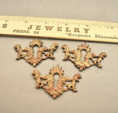 Antique Cast Brass Fancy Key Hole Covers Old And Original Furniture Hardware
