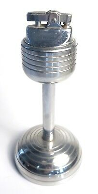 Vintage *EXC* Retro Industrial Mic Stand Heavy Art Deco Chrome Table Lighter