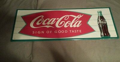 Coca cola fishtail metal sign