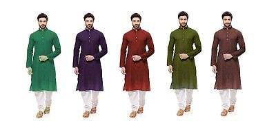 Indian Solid Men's 100% Cotton Kurta Plus Size S-7XL {27 Color available} Long