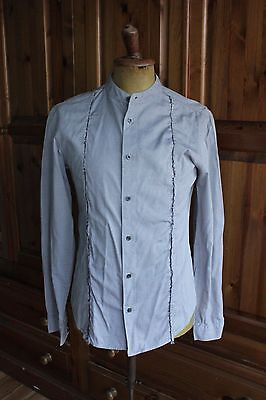 Allsaints Vintage Men's Small Blue Grandfather Collar  Cotton Fitted Shirt