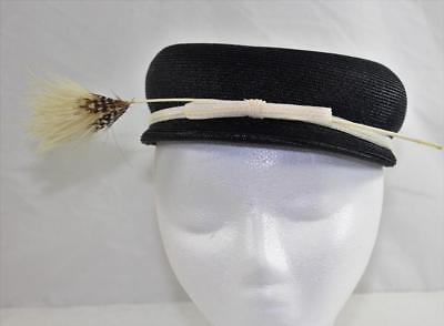 Vintage Late 1940s Fancy Low Profile Pillbox Hat With Bow And Feather
