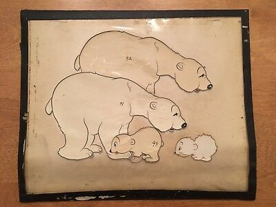 MAX FLEISCHER Studios 1938 - PLAYFUL POLAR BEARS - Orig. Cartoon Prod. Model Cel