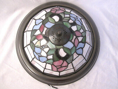"NEW Tiffany Style Stained Glass Round 14"" Diameter Flush Ceiling Light Lamp"