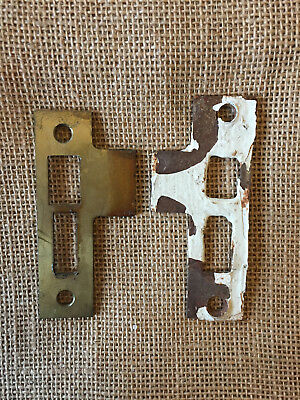 "Antique Steel Strike Plate for Mortise Lock 1 3/8"" x 3 1/2"""