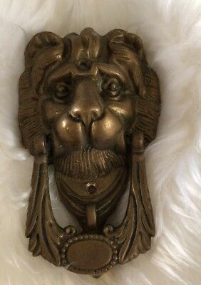 "Vintage Beautiful Lion Heavy Brass Door Knocker 7"" Tall"
