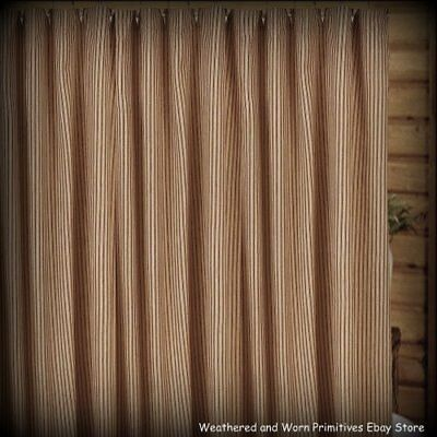 """Primitive Country Barn Red & Tan 100% Cotton Ticking Shower Curtain 72"""" x 72"""""""