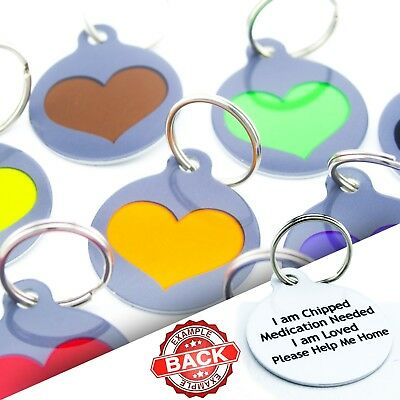 Round Heart Dog Pet ID Tags Disc Dog name tags Waterproof Pet Tags Engraved Free