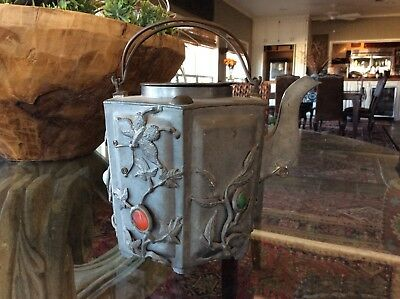 Antique Chinese Pewter Teapot with Jadeite and Carnelian