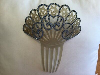 Vintage Antique Huge French Art Deco design Jewelry Hair Comb