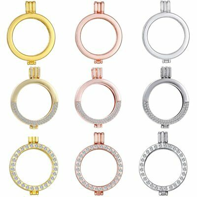 Hot 35MM Floating Locket Holder My Coin Crystal Pendant Fit Necklace 33mm Coins