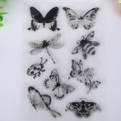 Seal Paper Butterfly And Bee Transparent Clear Rubber Stamp Craft Scrapbooking