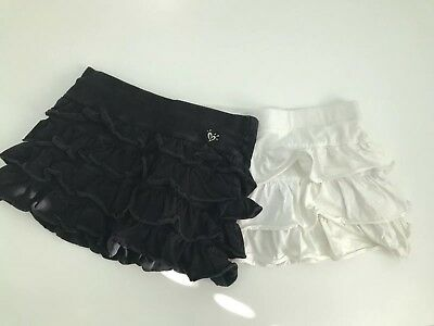 Justice Girls Black White lot of 2 Ruffle Tiered Skirt Skort Size 10