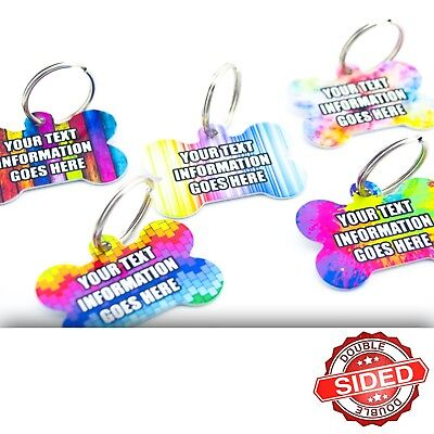 Fun Pet ID Tags Metal Colourful Bone Dog Pet Tag Discs Personalised Double Sided