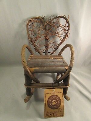 New Boyds Bears Wood Branch Rocking Chair  Heart Shape