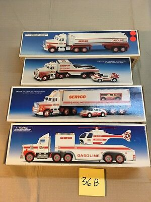 Servco Toy Truck, Tanker, Racing Transporter and Helicopter Lot Of 4
