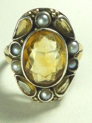 Antique Arts And Crafts Bernard Instone Silver Gold Pearl Citrine Ring Signed