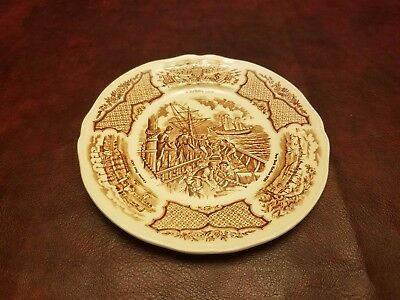 """Set of 8 Alfred Meakin FAIR WINDS Brown Historical Scenes 7"""" SALAD PLATE"""