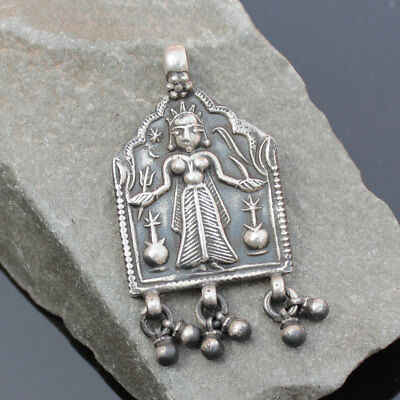 Antique Ethnic Tribal Old Silver Vintage Pendant Hindu God Religious Jewelry