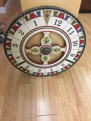 Antique 1930's Vintage Folk Art Wooden Carnival Game Wheel Double Sided Rare!!