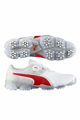 NEW - PUMA TITANTOUR IGNITE DISC Mens Golf Shoes - White  Red  Gray ... a0962a9da