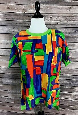 VTG 90s Traffic Jam Womens Top Size Large Green Purple Red Colorful Tee Shirt