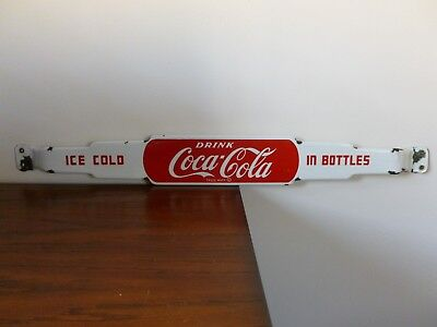 Original 1940's Coca Cola Coke porcelain door push pull sign 4 3/16 x 34 7/8""