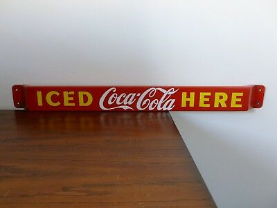 "Original 1953 Coca Cola Coke porcelain door push bar sign 3 x 31 1/2"" P&M Canada"