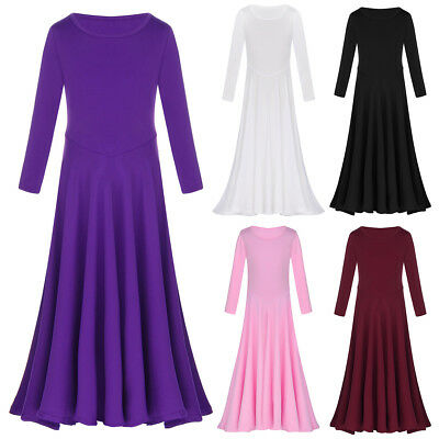Girls Long Sleeve Loose Fit Full Length Liturgical Praise Dance Dress Dancewear