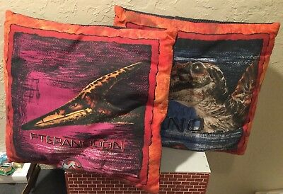 Vintage Jurassic Park Pair Of 2 Pillows Kids Room Cool Spino & Pteranodon