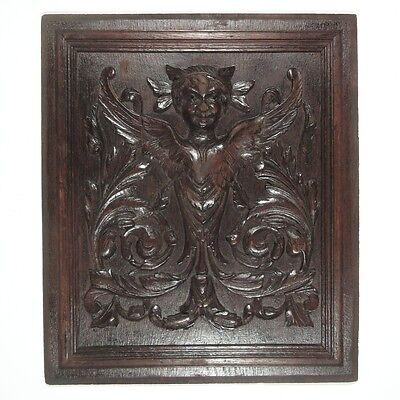 Antique French Hand Carved Wooden Panel with Sphinx, Woman Head, Wings, Acanthus