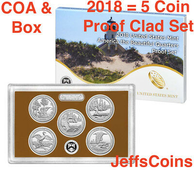 2018 S US Mint Proof Set ATB 5 Clad Quarters Box COA Pictured Rock -Block I.18ap