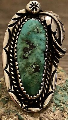 Large RARE PHILLIP LONG Navajo Sterling & Gem Turquoise Ring 12.5g Size 6 Must C