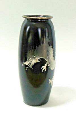 Hawkes BLACK Cut To Crystal Chinese Dragon Vase Silver Rim
