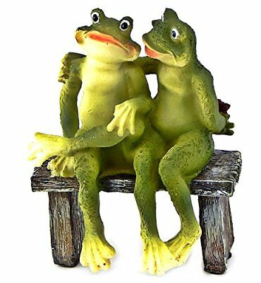 2 Frogs on Bench Garden Decoration Collectible Figurine Statue Model Valentines