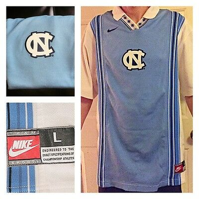 Vtg 90s USED NIKE UNC North Carolina Tar Heels Basketball Warm Up Jersey Mens L