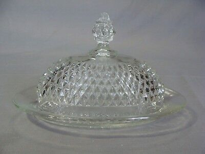 Anchor Hocking Diamond Point Clear Glass Oval Butter Dish